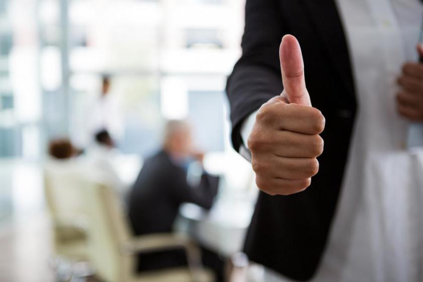 thumbs up gesture, representing a successful mediation session